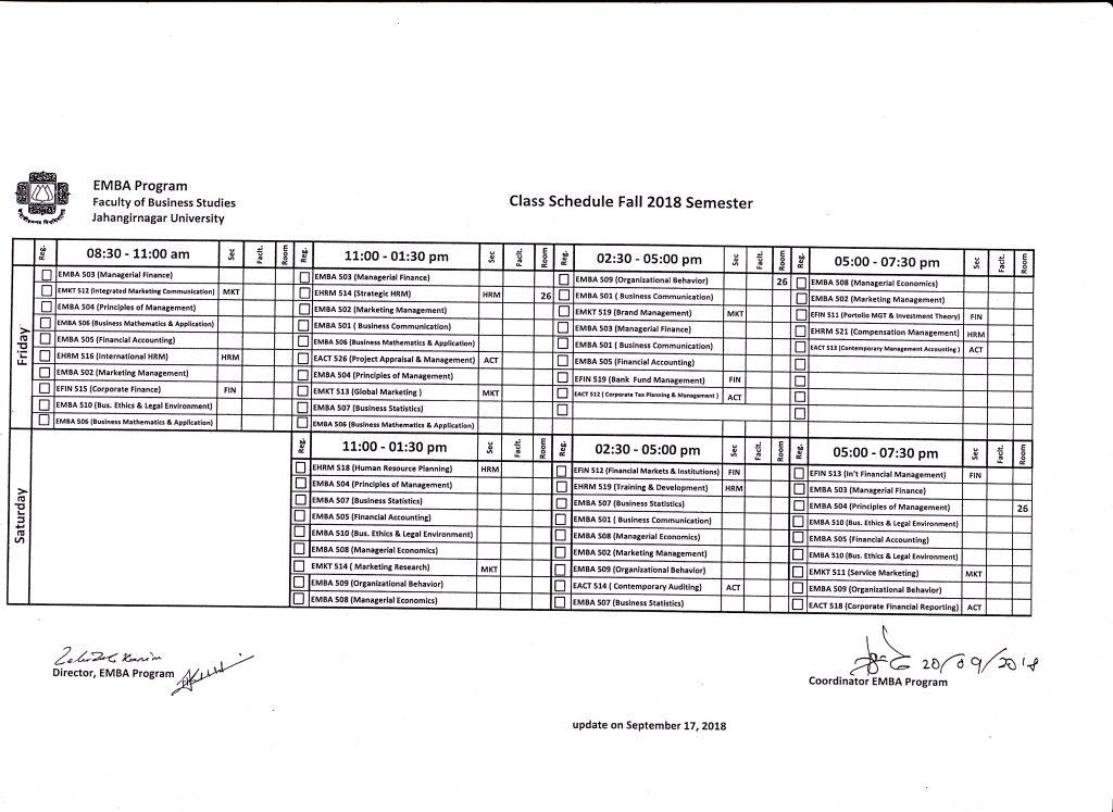 EMBA Fall-18 class routine – Jahangirnagar University